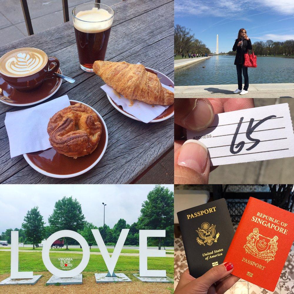 Breakfast at Stumptown Coffee Roasters in New York City, Virginia is for Lovers sign at a rest stop along Blue Star Memorial Highway, our passports at Hotel Indigo Katong in Singapore, Q number at Joe's Shanghai & me pointing at stuff at National Mall in D.C.