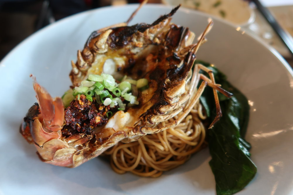"Grilled King Prawn ""Lao Gan Ma"" Noodles (La Mian) @ S$16 at Chinese Noodle Bar by Blue Lotus"