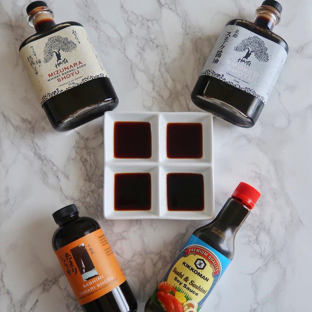 The contenders for the shoyu taste test