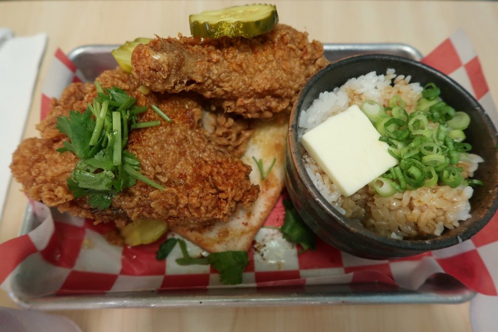 Bantam King's Fried Chicken Plate with Chicken Drippings Rice