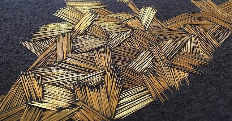Hanny Newton, Paresthesia B  (detail), 2017, Japanese gold thread on cotton blend