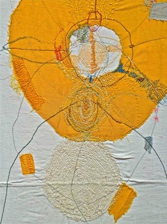 Junko Oki,  Mishearing, 2013, (detail, size unknown), 2013, recycled textiles, thread