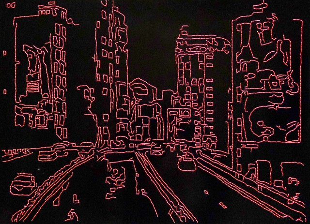 Alexandre Paiva,  City lights II,  2011, Embroidery on photo paper (Neon-Embroidered Art By Stitching Glowing Thread Into Photo Paper), 25.5 × 35.5 cm