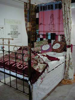 Tracey Emin,  To Meet My Past,  2002 Mixed media installation comprised of a four poster bed, mattress and appliquéd linens and curtains Dimensions variable