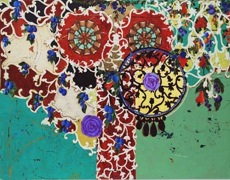 Beatriz Milhazes,   Succulent Eggplants,  1996, Synthetic polymer paint on canvas, 189.9 x 245.1 cm
