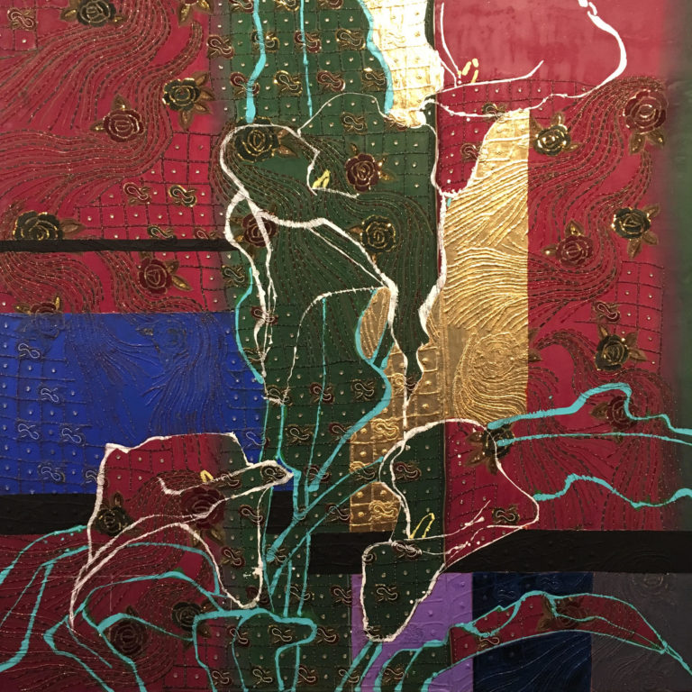 Robert Kushner,  Calla Lilies and Roses , 2018, Oil, acrylic, gold leaf, embroidery, sequins, silk on canvas, 72×72 cm.