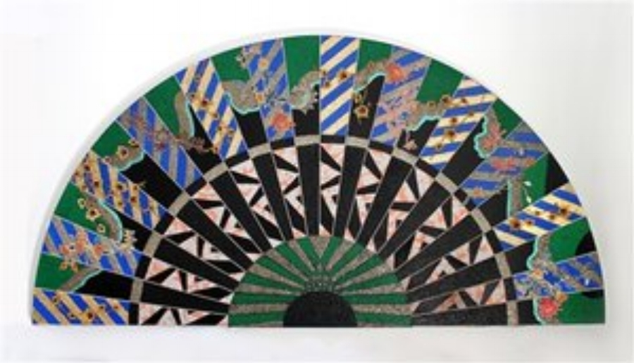 Miriam Schapiro,  Mexican Memory,  1981, Acrylic, fabric, and glitter on canvas,  48 x 96 in