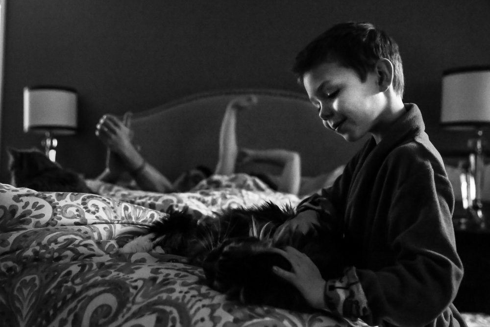 Boy pets cat while parents wake up