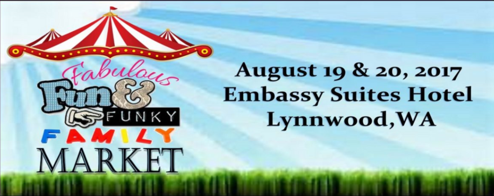 The Fabulous Fun & Funky Family Market     August 19 & 20, 2017    Embassy Suites Hotel – Lynnwood, Washington    Hours are 10-6 on Saturday and 11-5 on Sunday.    Pop-up shopping destination for all of your favorite home business consultants, local artists & crafters, unique items . Shop from over 80 booths with such famous brands as :    The Market will also feature handmade items from some of the Pacific Northwest finest artists, crafters and artisans.    Admission is free to the public and there is plenty of free parking.