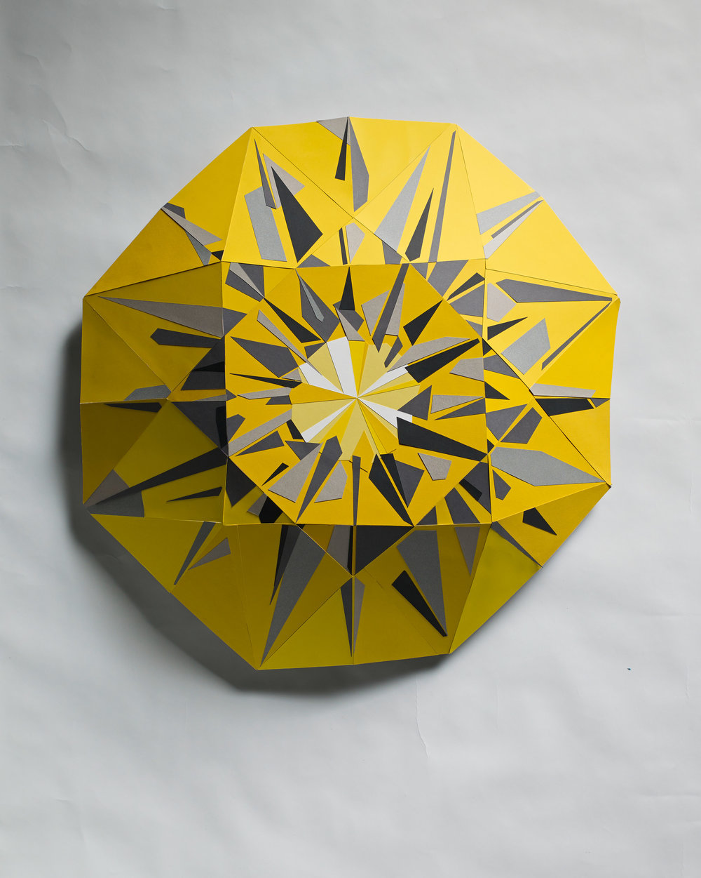 Yellow Diamond - Three dimensional paper mosaic made with colored photo mounting  board. Diameter approximately 85cm   depth: 17cm