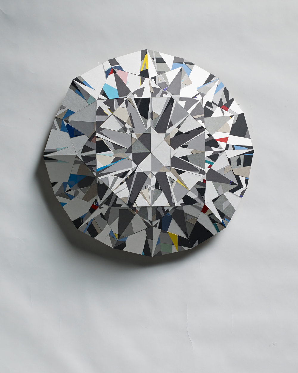 White Diamond - Three dimensional paper mosaic made with colored photo mounting board.Diameter approximately 59cm   depth: 12cm