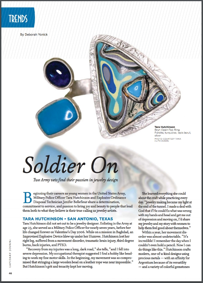 An article about tara's story, published in the July 2016 edition of an industry magazine, Lapidary journal jewelry artist.