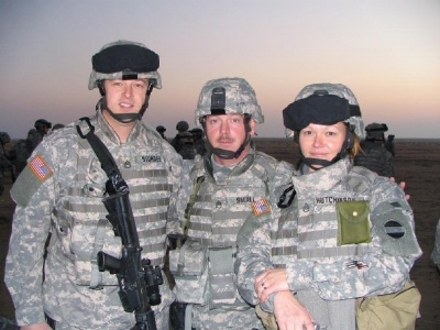 tara and two other squad leaders at a live fire range in kuwait, prior to iraq