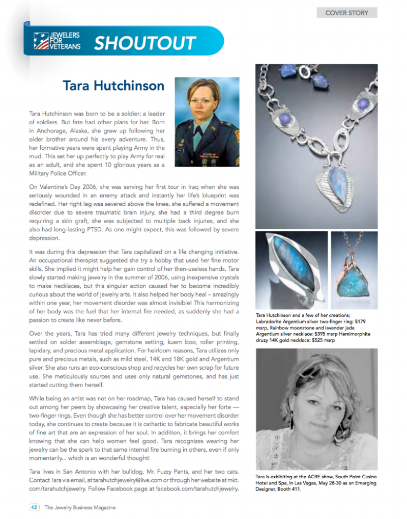 an article about my journey published in the industry magazine the retail jeweler.