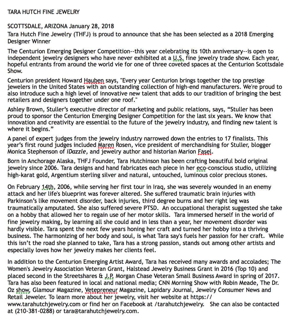 Centurion Press Release