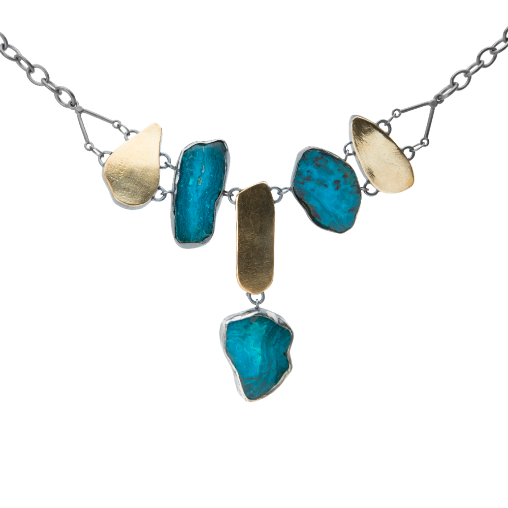 Chrysocolla Slice and 18K Gold Necklace - 111.png