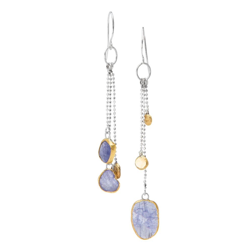 Silver and 24KYG Earrings with Tanzanite and Gold Dots - 9.png