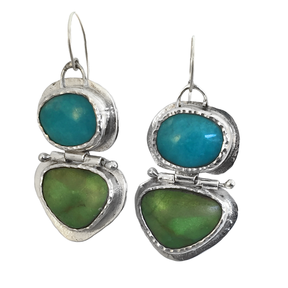 SOUR Apple Gaspite and Puruvian Amazonite Hinge Earring - 2.png
