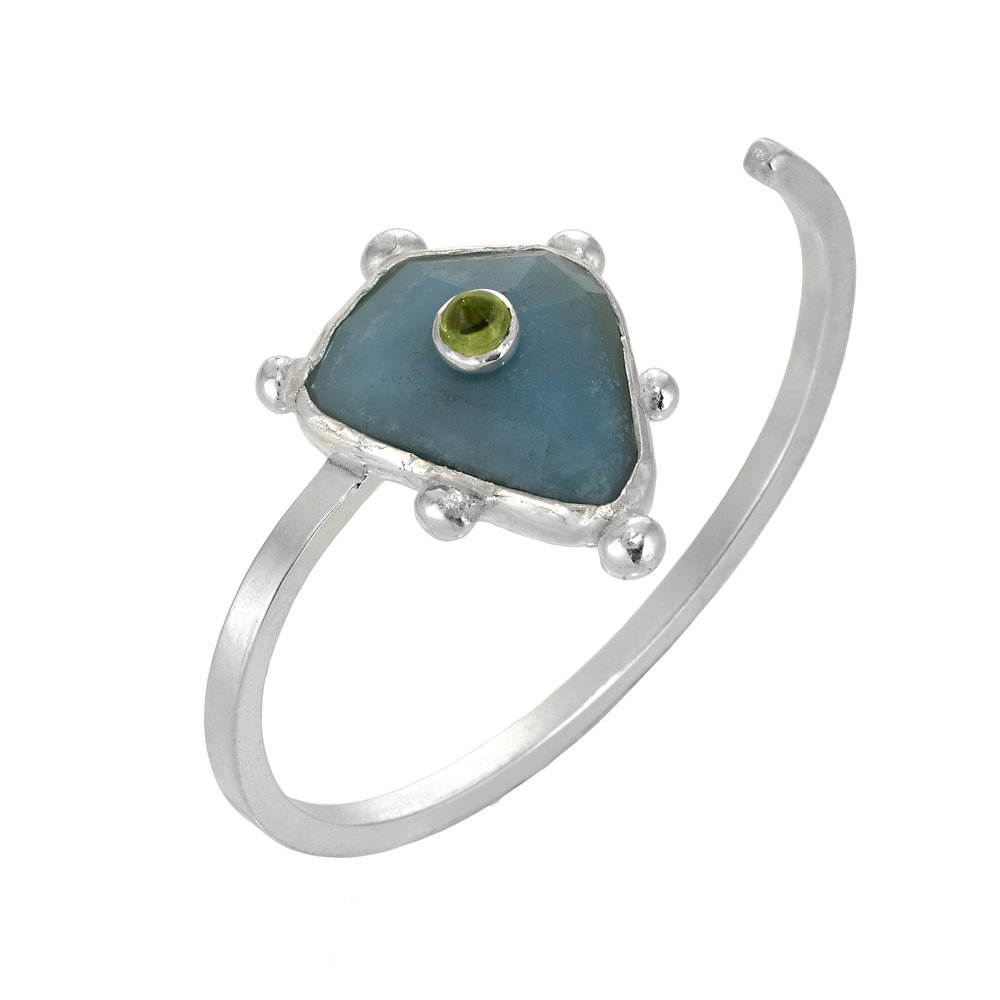 Chalcedony and Peridot Petit Four Cuff.jpg