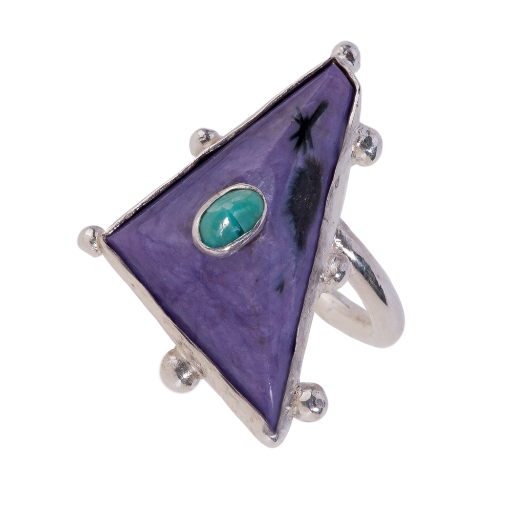 Stichtite & Turquoise Petits Four Ring - 1.png