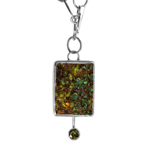 b9ea50b14 Ammolite & Lab Zircon Necklace - BF — Tara Hutch Designs