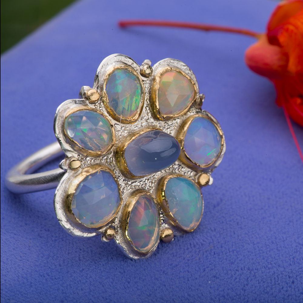 Candy Coated Ethiopian Opal & Chalcedony Cocktail Ring