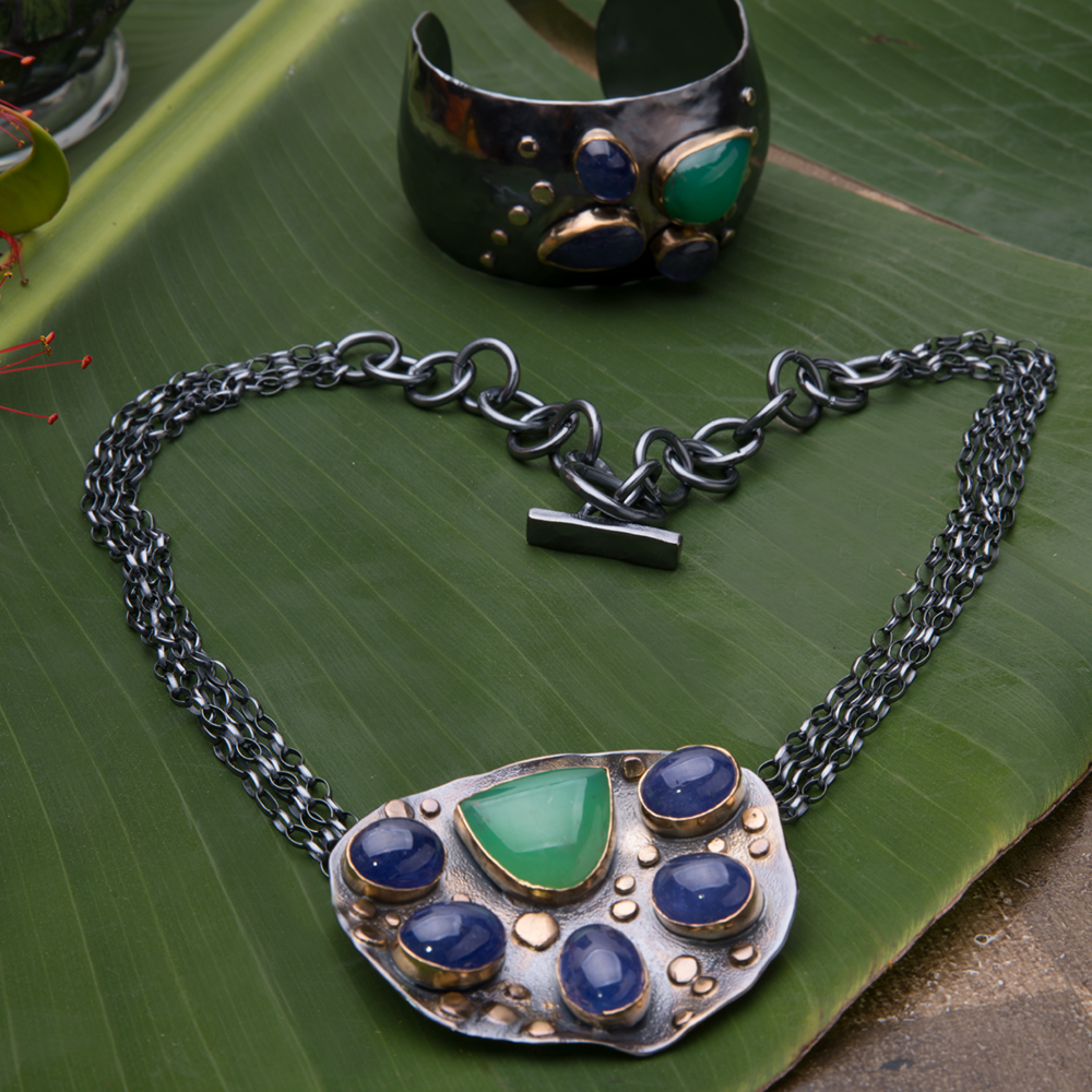 Tanzanite & Chrysoprase  Cuff  &  Necklace