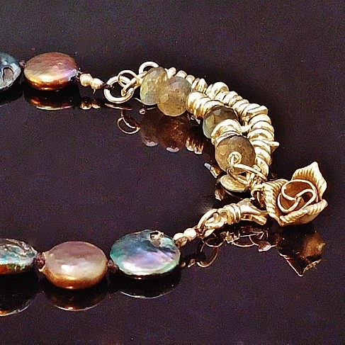 Sterling Silver, Handmade Balinese Silver Bead and Charms, Labradorite and Peacock Coin Pearl Hand Knotted Silk Bracelet 2.JPG