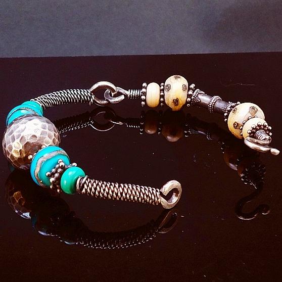 Sterling Silver, Handmade Lampwork Bead & Handmade Balinese Bead Hinged 2-Way Bracelet 3.JPG