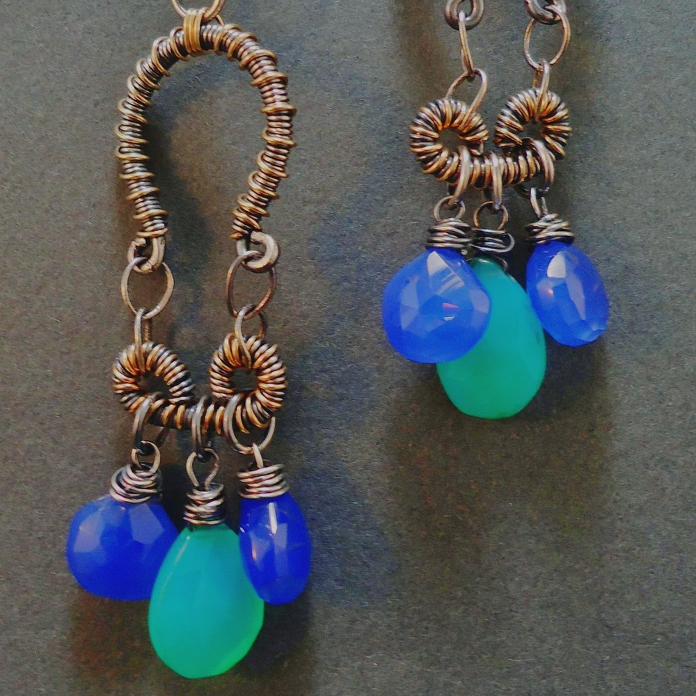 Trinetta Oxidized Sterling Silver, 14K Gold Fill & Chalcedony Earrings.jpg