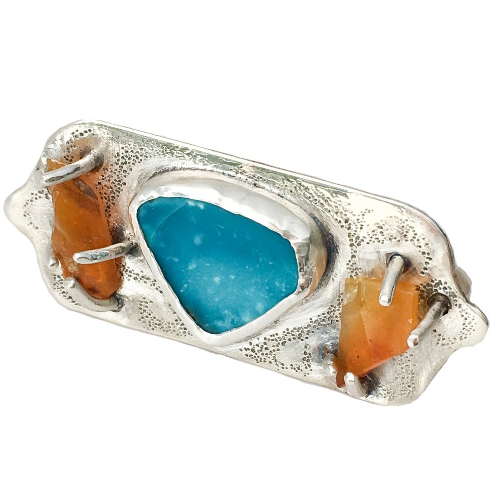 Rough Turquoise and Fire Opal Two Finger Ring.jpg
