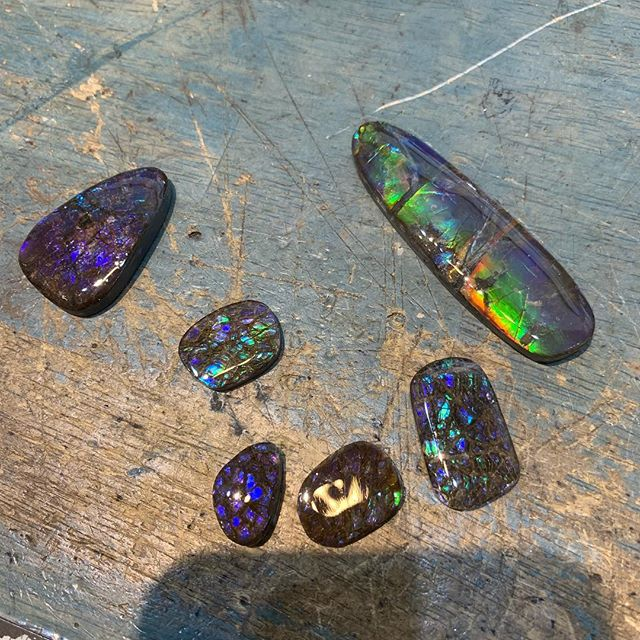 Some bad ass new ammolite cabochons I acquired last week. Going to create some sweet jewelry for my Sauvage collection! #sauvage #tarahutchjewelry #ammolite #amputee #veteran #veteranentrepreneur #smallbusinesssaturday #finejewelry #getsomethingmeaningful #helpavet