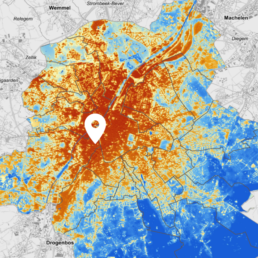 Heat map of Brussels, with location of Brasserie Cantillon indicated . Source:  Leefmilieu Brussel