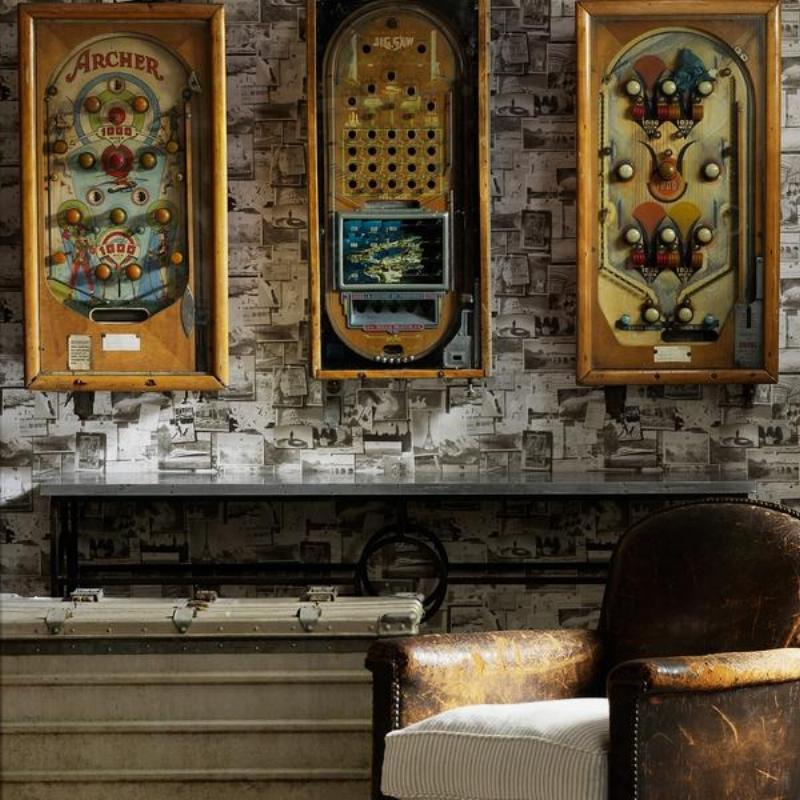 tapete-pinboard-charcoal-wallpaper-vintage-notranje oblikovanje-poke