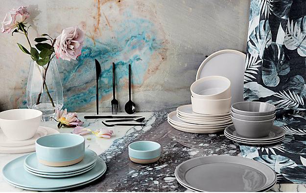 5.  CB2 :  level , light blue dinnerware