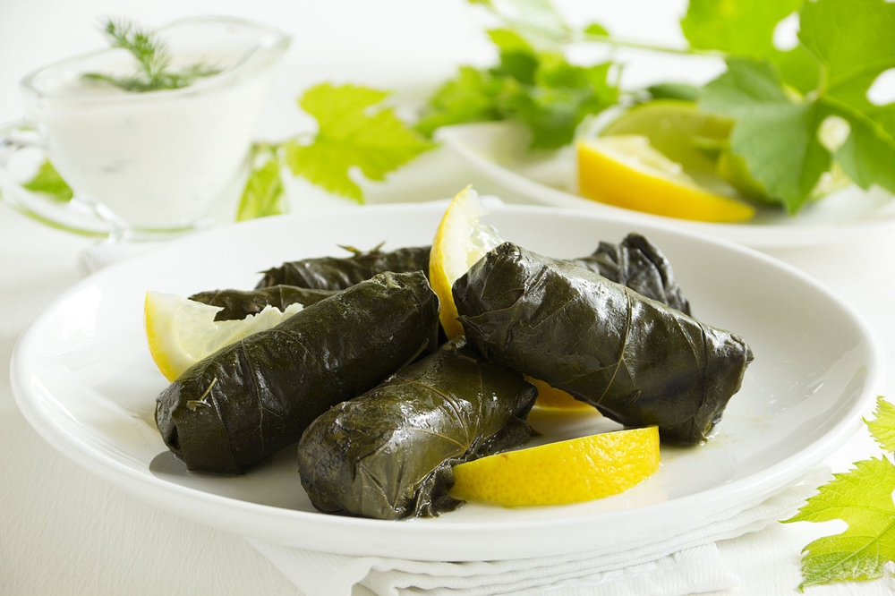 stuffed grape leaves, greek food, mediterranean food, santorini, greece, greek yoga retreat, yoga retreat