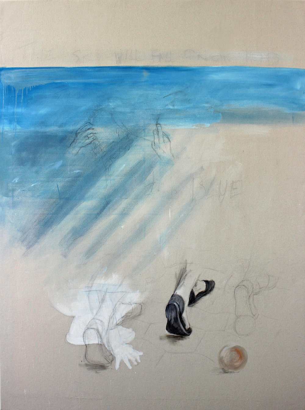 'The Sky is Blue on Our Heads'  Oil and gesso on semi-primed canvas  120cm x 160cm