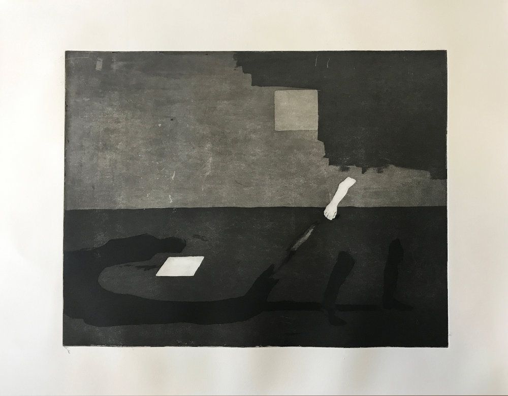 Dragging my Shadow  Engraving with aquatint  30 x 40 cm