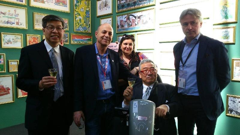 圖說:右起 法蘭克福書展主席Juergen Boos、 書展基金會董事郝明義、法蘭克福書展負責拉美西葡語系的副主席Marife Boix-Garcia、墨西哥書展代表 David Unger、趙政岷董事長。