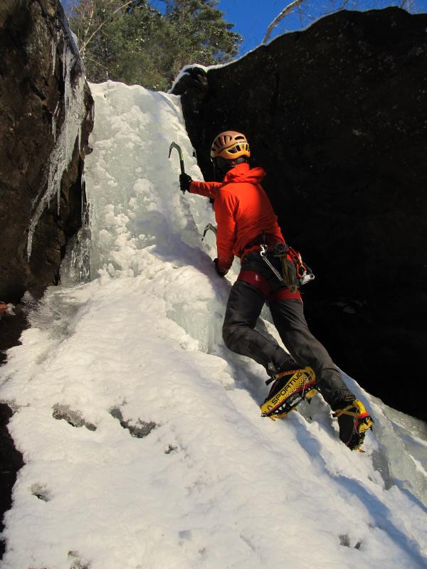 CAMDEN— Thanks to the Banff Film Fest, many equate ice climbing with hanging by ice picks on a treacherous overhang of frozen water.