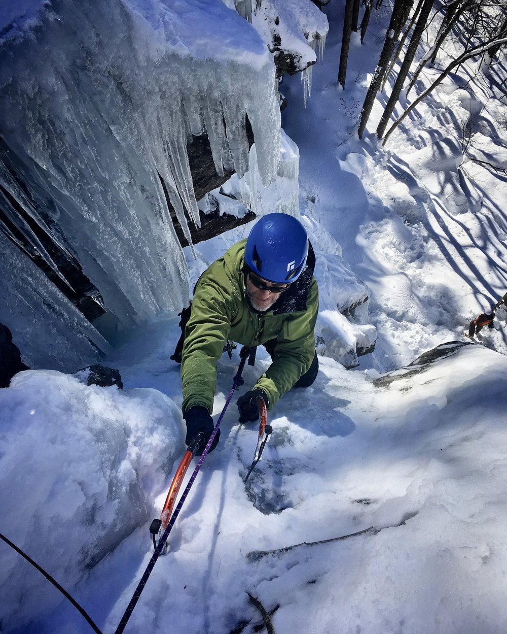 Camden offers beginner friendly climbing with short flows of varying degree of steepness to steep overhanging curtains of icicles. No matter your climbing goals, there's ice for everyones ability. You can work with a certified guide, who will provide not only the climbing gear but knowledge of the park to customize your adventure. Each year the routes of ice to be climbed form in different ways, depending on the amount of precipitation and temps, and each season provide a slightly new climb, new challenge.