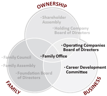 A variety of governance structures, policies and procedures are available in the business circle to help facilitate the oversight of your family enterprise.