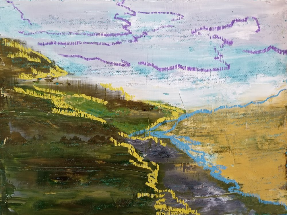 "Looking back towards loch fine  9"" x 12"" oil on 1/8"" canvas panel"