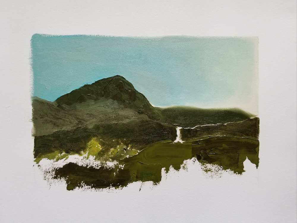"""finally/buttermere  12"""" x 16"""" oil on paper"""