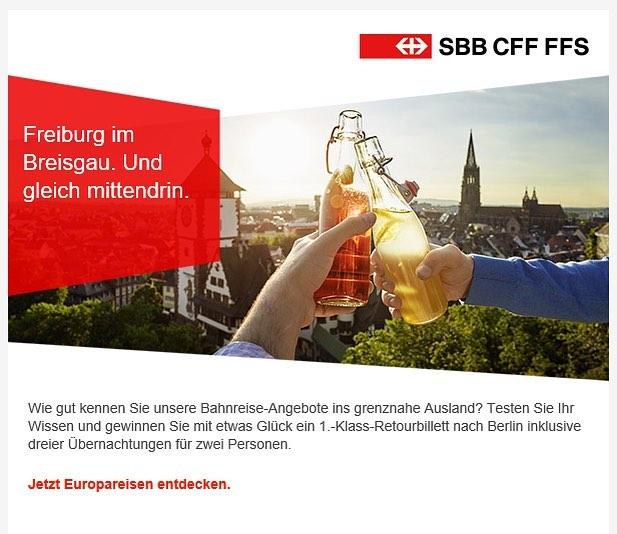 Gerade folgenden Newsletter von den SBB erhalten. Immer wieder schön die eigenen Bilder da draussen zu sehen. Danke! #SBB #contexta @anjaelvers #freiburgimbreisgau #onassignment