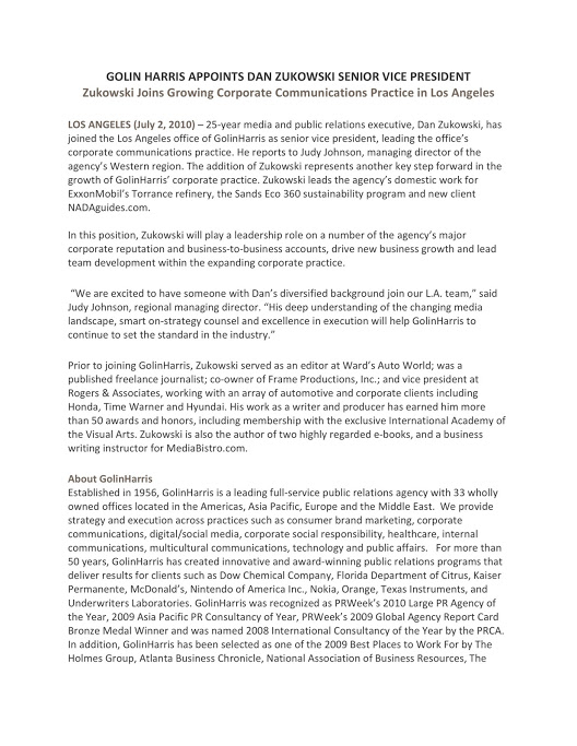 Jeffrey LeFevre_Golin Dan Zukowski Press Release_Page 1 of 2_070210