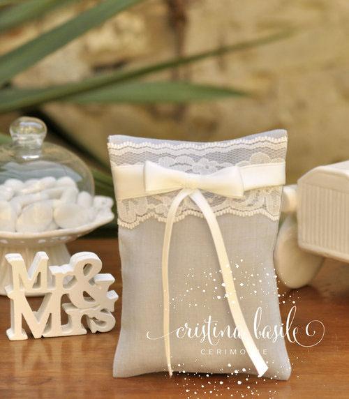 bomboniera matrimoniosacchetto portaconfetti in lino grigio con