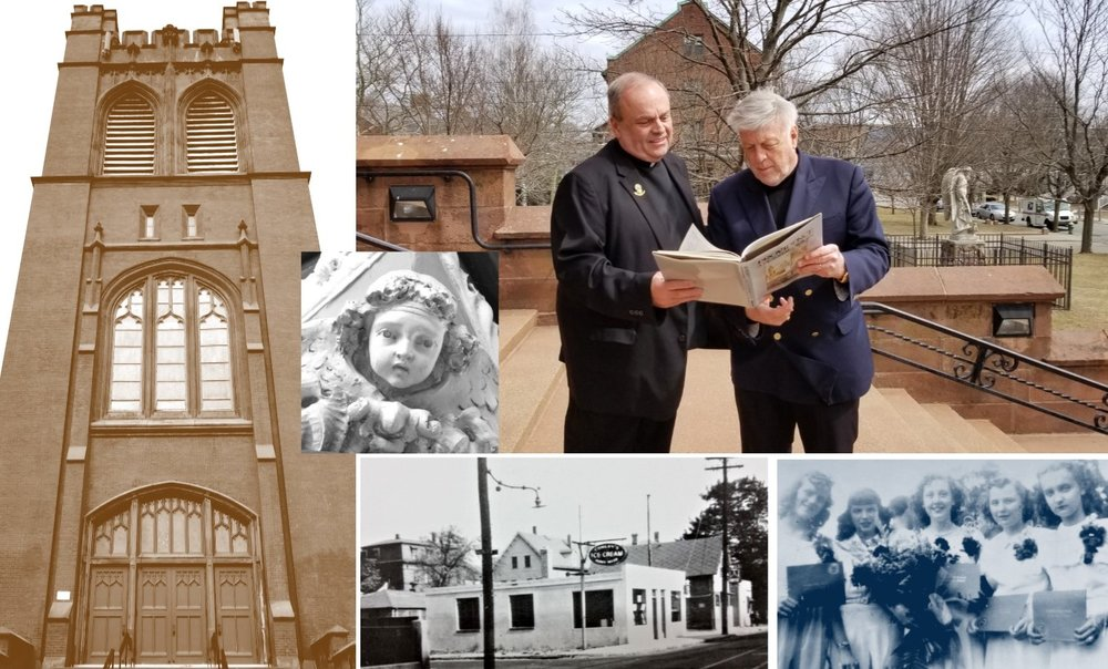 Reverend Robert P. Perron and Patrick T. Conley, Ph.D., examine a copy of Conley's 1982 book, Providence: A Pictorial History, on the steps of St. Michael the Archangel Church in South Providence. The front endpaper of this book contains a handwritten note from Mayor Vincent A. Cianci, Jr. to His Excellency, The Most Reverend Robert E. Mulvee, who was named Coadjutor Bishop of Providence in February 1995.