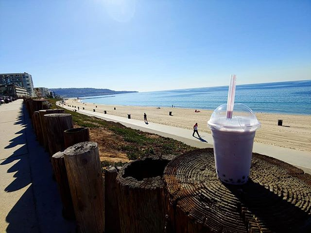 A little morning Pick-Me-Up.  Taro smoothie.  #southbayphotos #losangeles #boba