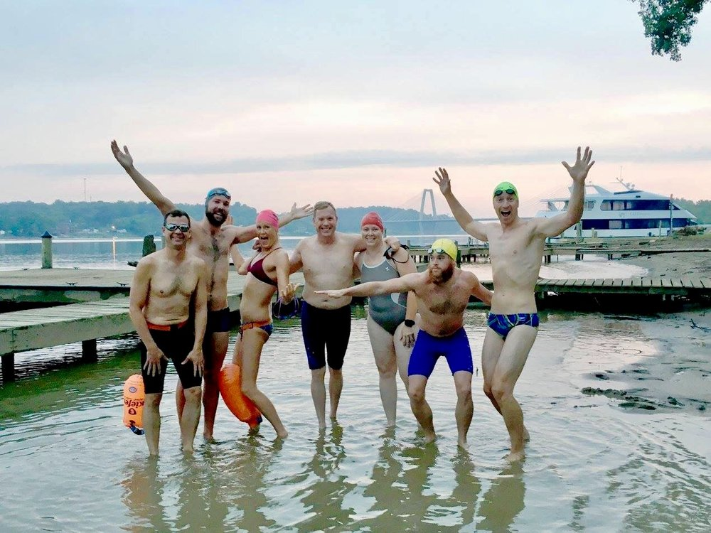 "The ""Silly 7"" inaugural swim was held on July 4, 2017 with swimmers (left to right) John Fischbach, William Kolb, Victoria Rian, Michael Johnmann, Terri Torres, Andrew Magazine, and Mike Jotautas."